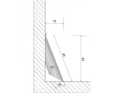 Podlahová lišta soklová plastová vinyl k vinylovým podlahám 5,5 mm
