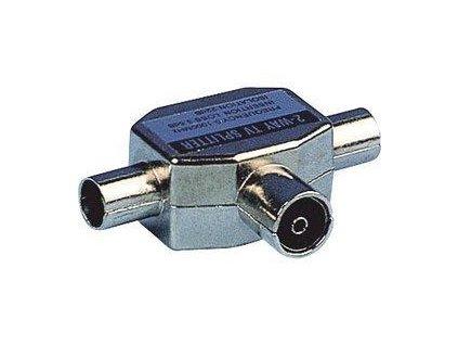Sencor koaxiální dvoucestný rozbočovač, TV (1F-2M), nikl