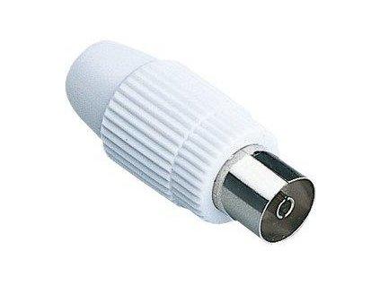 Sencor koaxiální konektor - zásuvka, přímý, bílý plast-nikl