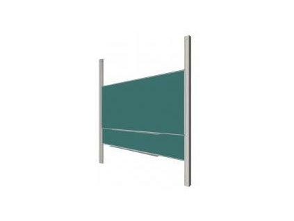 ekoTAB 2 keramické magnetické tabule (zelená) + Pylon AL dvojitý + odkládací polička 100 cm (kov)