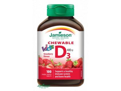 1525 jamieson vitamin d3 kids 400 iu tablety na cmulanie s prichutou jahody pre deti 100tbl