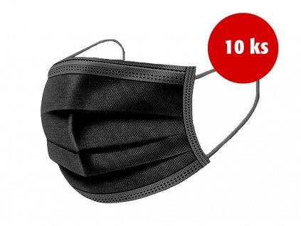Černá rouška jednorázová 3 vrstvá 10 ks
