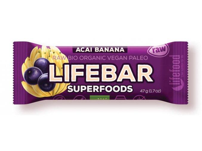 Lifebar tyčinka acai s banánem BIO RAW 47g