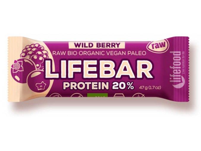 Bio tyčinka Lifebar protein lesní ovoce BIO RAW 47g