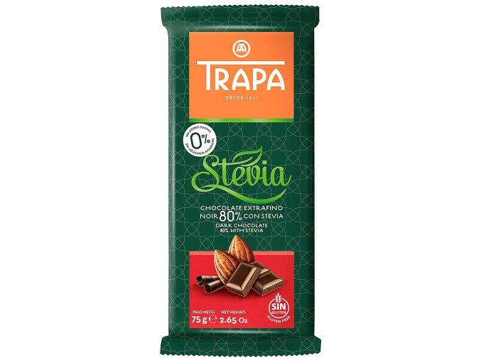 TRAPA Hořká čokoláda se stévií (80%) 75g