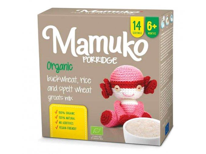 Mamuko bio dětská kaše hnědá pohanka, špalda, rýže 240g