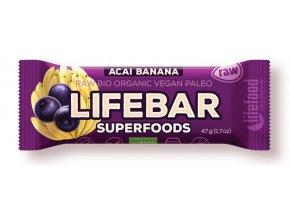 Lifebar Plus tyčinka acai s banánem BIO RAW 47g