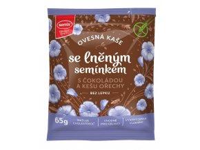 Ovesná kaše s čokoládou, kešu ořechy a lněným semínkem bez lepku 65g