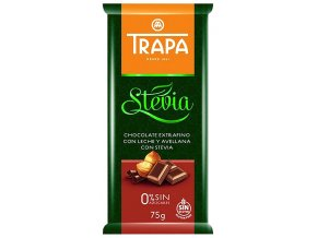 TRAPA Mléčná čokoláda se stévií a lískovými ořechy 75g