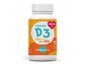 Vital Country Vitamín D3 pro děti Jahoda 400IU 90 tablet