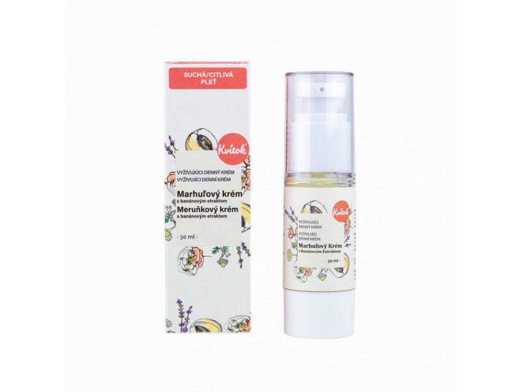 Kvitok Denní meruňkový krém pro citlivou pleť (30 ml) - zmírňuje podráždění a zčervenání pleti