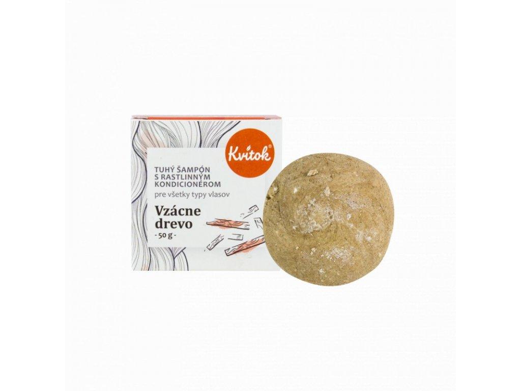 Kvitok Tuhý šampon s kondicionérem pro tmavé vlasy - Vzácné dřevo XXL (50 g) - krásně pění