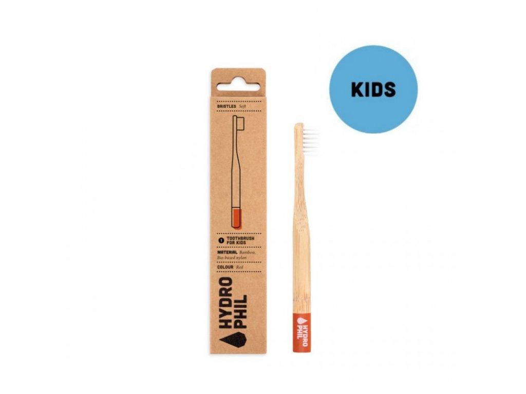 Hydrophil Bambusový kartáček pro děti (soft) - červený