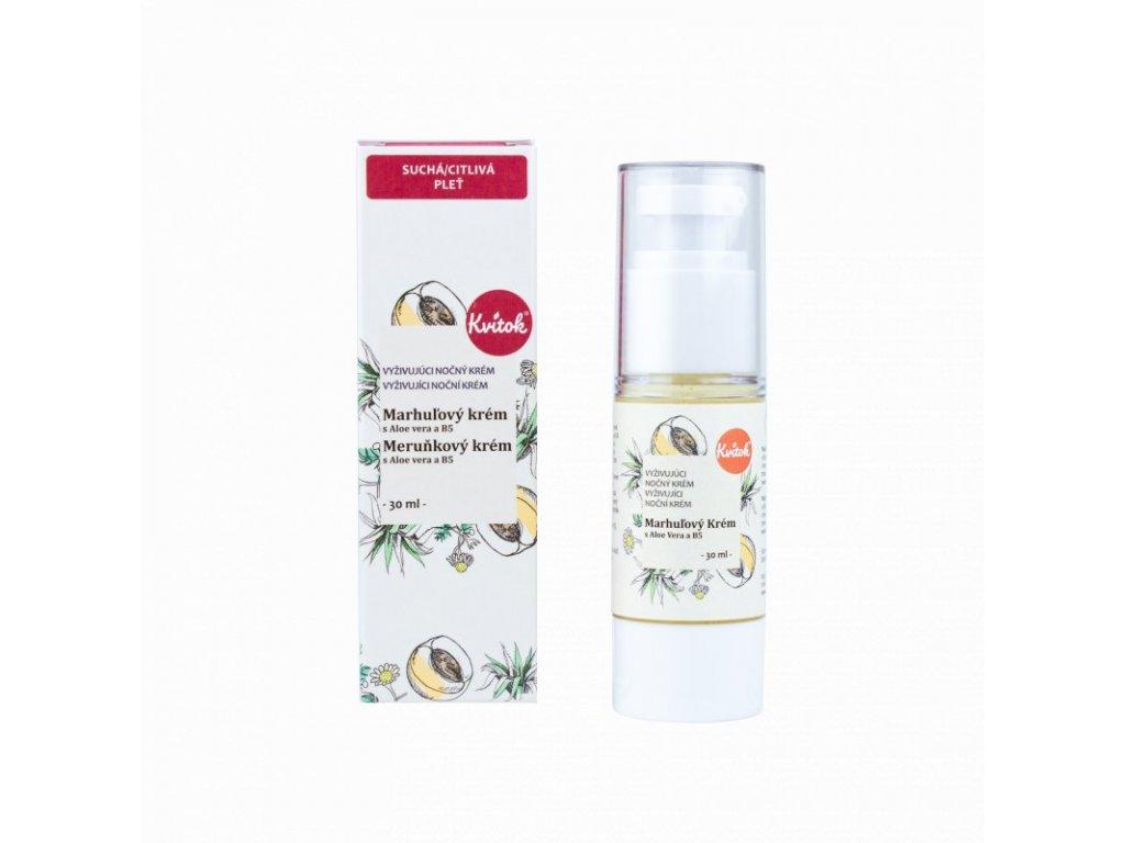 Kvitok Noční meruňkový krém pro citlivou pleť (30 ml) - s provitaminem b5