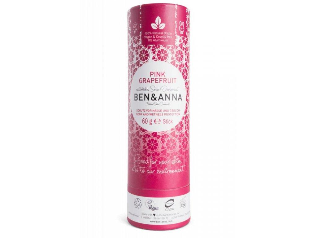 Ben & Anna Tuhý deodorant (60 g) - Růžový grapefruit - s příjemnou ovocnou vůní
