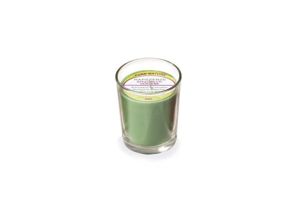 Stuwa Svíčka ve skle zelená (65 g)  - jablko a verbena - s čistě přírodní vůní