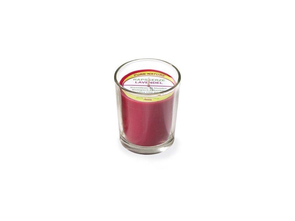 Stuwa Svíčka ve skle červená (65 g)  - levandule - s čistě přírodní vůní