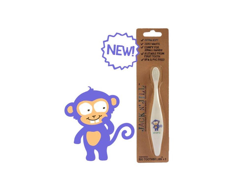 Jack n' Jill Dětský zubní kartáček Opička - z kukuřičného škrobu