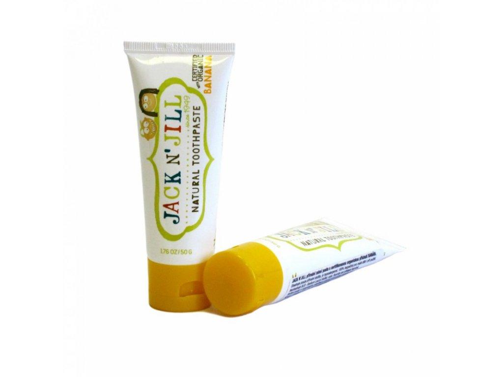 Jack n' Jill Dětská zubní pasta - banán BIO (50 g) - bez fluoru, s bio extraktem z měsíčku