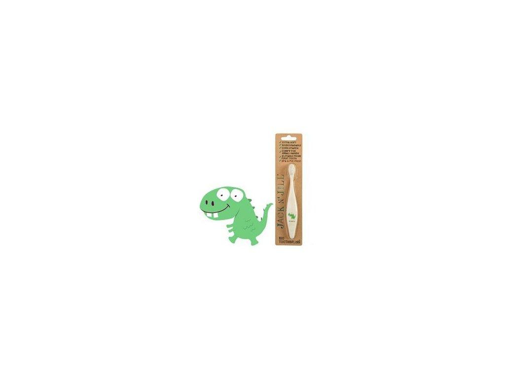 Jack n' Jill Dětský zubní kartáček Dino - z kukuřičného škrobu