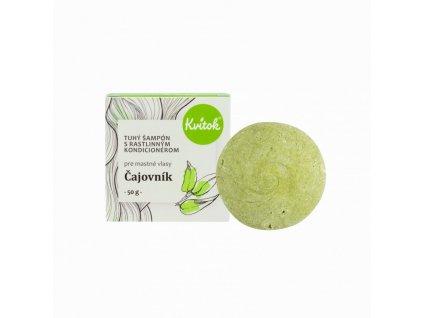 Kvitok Tuhý šampon s kondicionérem pro mastné vlasy Čajovník XXL (50 g) - s rostlinným keratinem