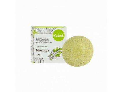 Kvitok Tuhý šampon s kondicionérem proti lupům Moringa XXL (50 g) - lesklé vlasy bez lupů