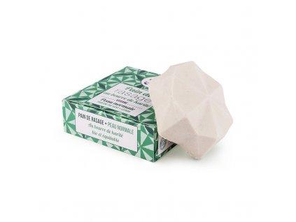 Lamazuna Tuhé mýdlo na holení pro normální pokožku - zelený čaj a citrón (55 g) - pro dámy i pro pány