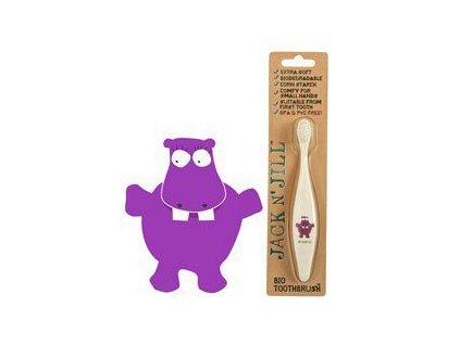 Jack n' Jill Dětský zubní kartáček Hrošík - z kukuřičného škrobu
