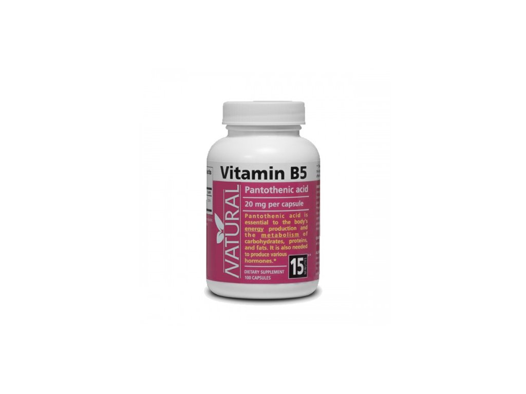 Vitamín B5 Pantotehenic acid 20 mg 100 kapsúl NATURAL 500x500