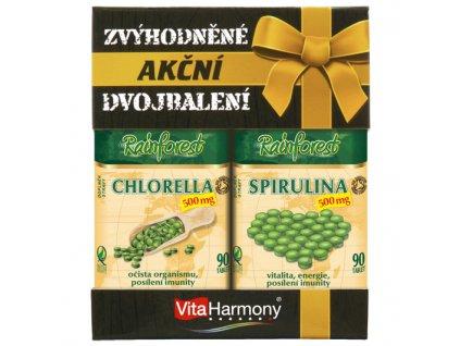 Dvojbalení Chlorella + Spirulina 500 mg (90+90 tbl.)