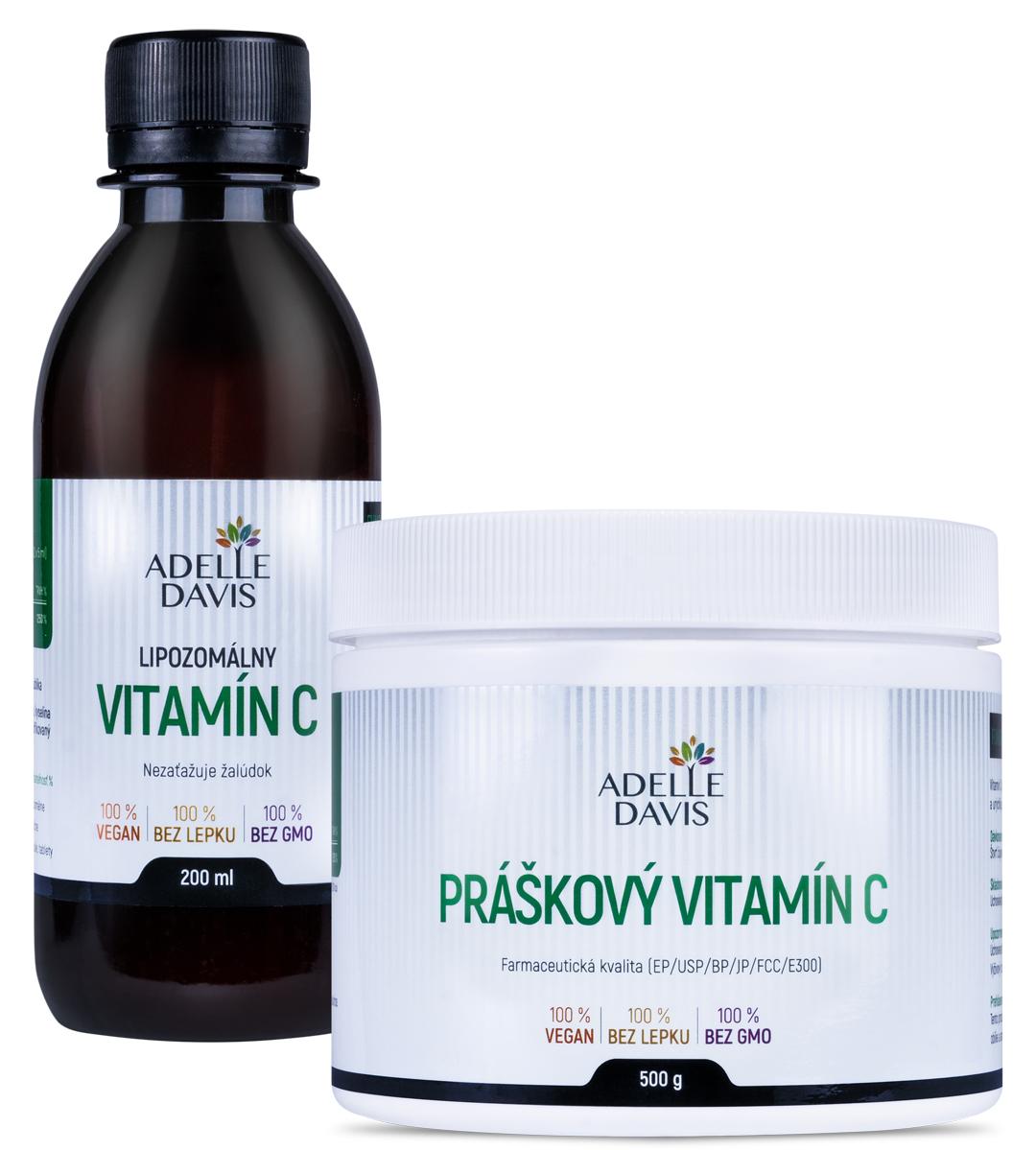 Adelle Davis - Lipozomálny vitamín C, 200 ml + Práškový vitamín C, 500 g