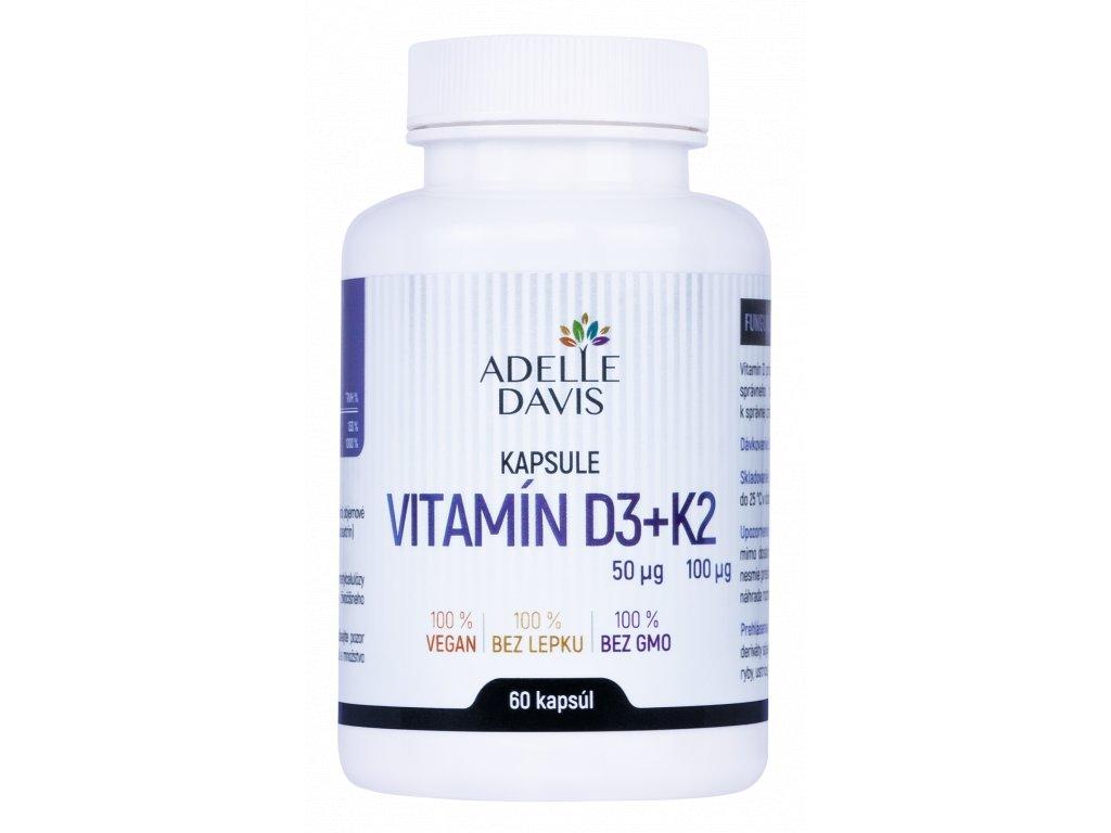 Adelle Davis Vitamín D3+K2, 60 kapsúl