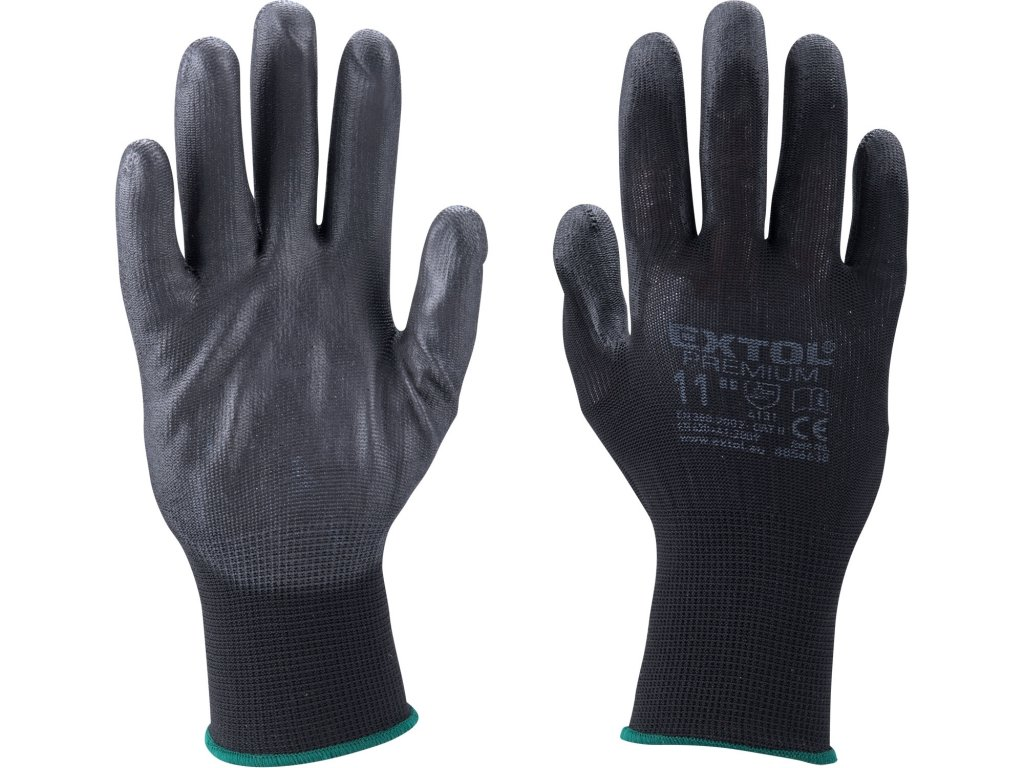 """rukavice z polyesteru polomáčené v PU, černé, velikost 9"""""""
