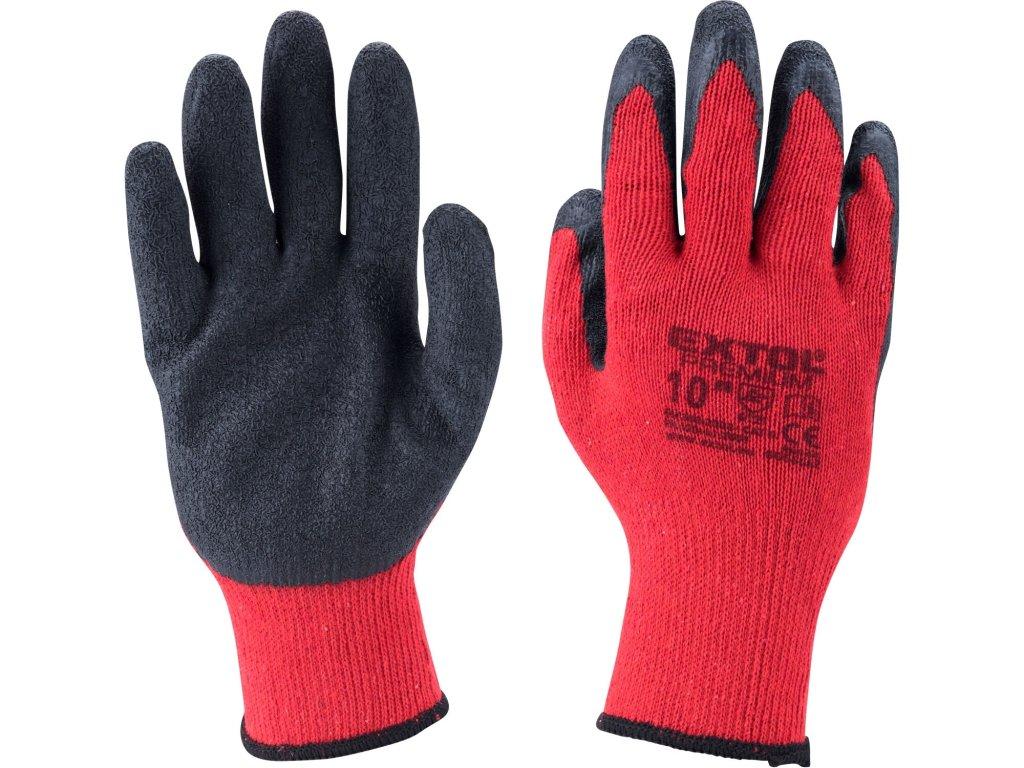 """rukavice bavlněné polomáčené v latexu, velikost 10"""""""