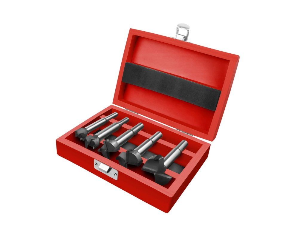 frézy-sukovníky do dřeva, sada 5ks s SK plátky, O 15-20-25-30-35mm, stopka 8-10mm