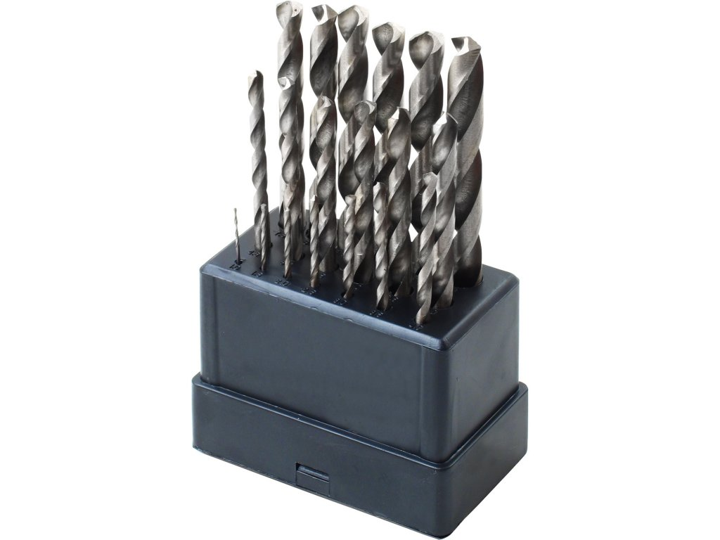 vrtáky do kovu, sada 19ks, O 1-10mm, HSS