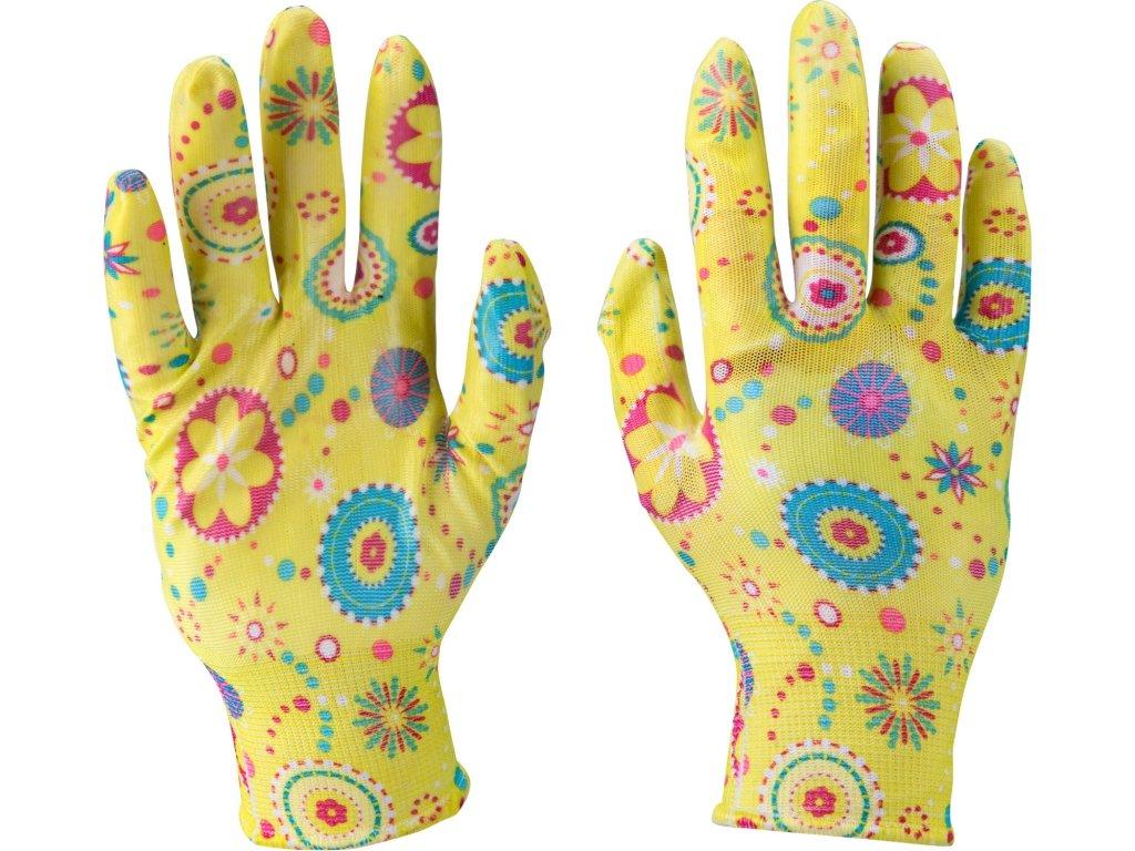 """rukavice zahradní nylonové polomáčené v nitrilu, velikost 9"""""""
