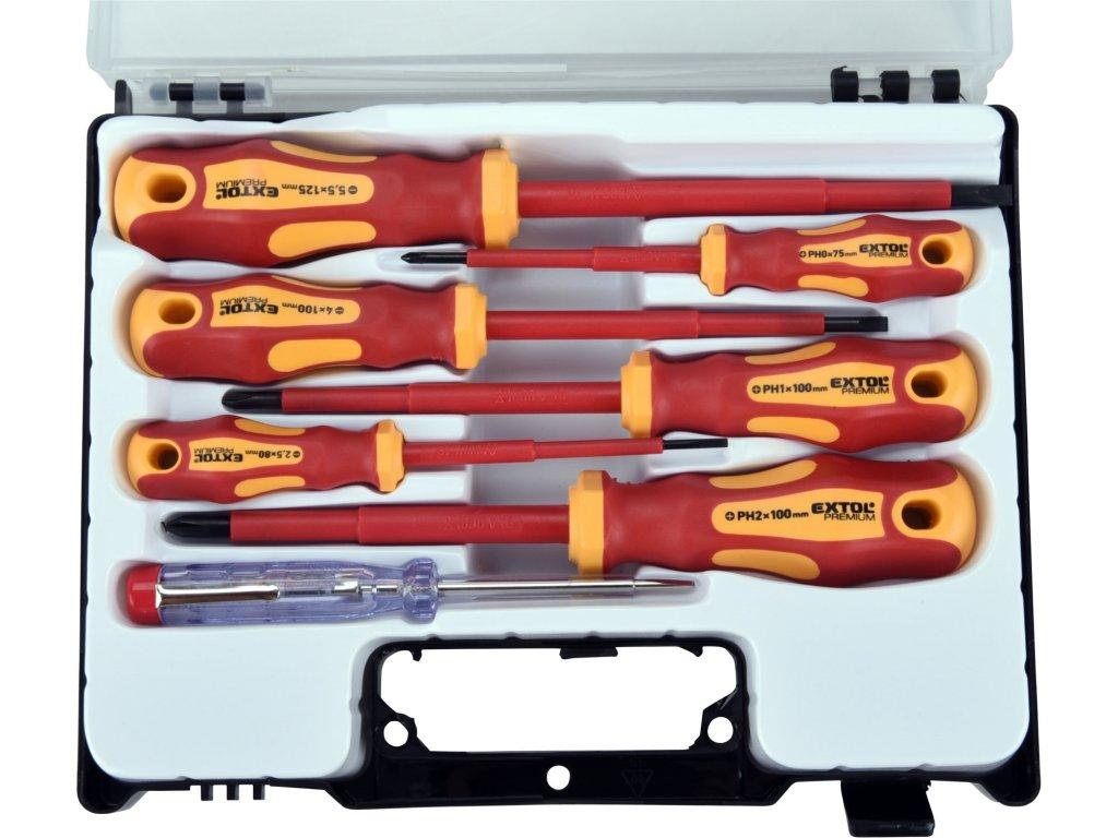 šroubováky elektrikářské se zkoušečkou, sada 7ks, 3x(-), 3x(PH), CrV