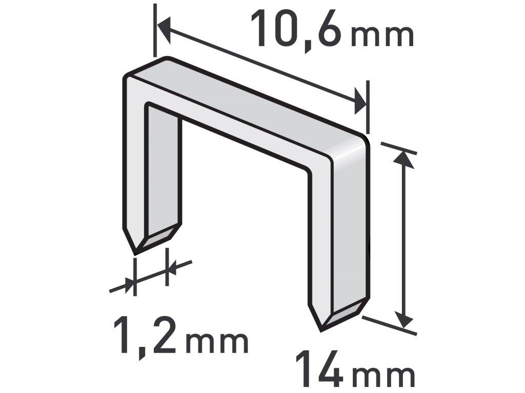 spony, balení 1000ks, 14mm, 10,6x0,52x1,2mm