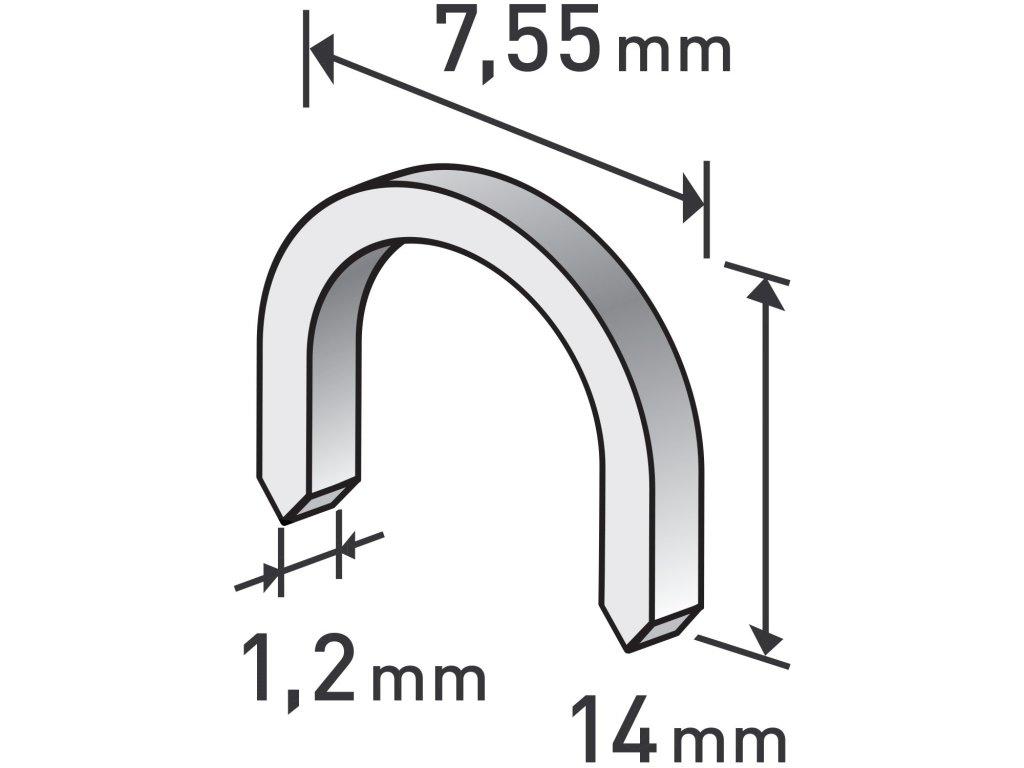 spony oblé, balení 1000ks, 14mm, 7,55x0,52x1,2mm