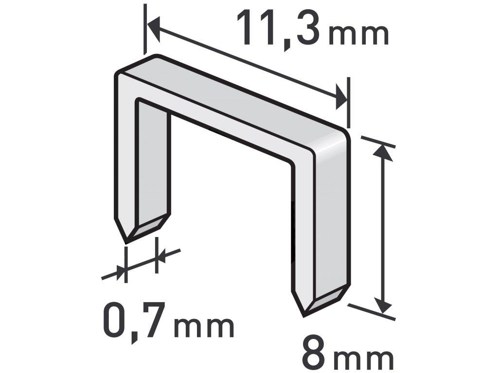 spony, balení 1000ks, 8mm, 11,3x0,52x0,70mm