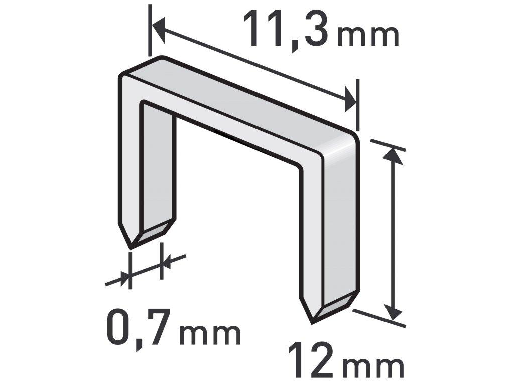 spony, balení 1000ks, 12mm, 11,3x0,52x0,70mm