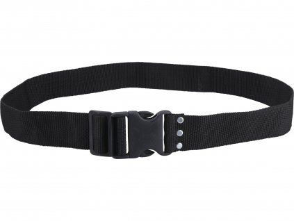 opasek nylonový černý, š.5cm x d.122cm, plast. přezka, nylon