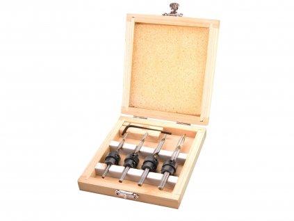 vrtáky do dřeva s dorazem, sada 4ks, O 3-4-5-6mm, délka 76-94mm