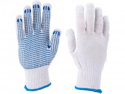 """rukavice bavlněné s PVC terčíky na dlani, velikost 10"""""""