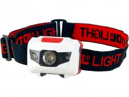 čelovka 40lm, 1W + 2 červené LED, ABS plast