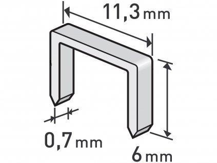 spony, balení 1000ks, 6mm, 11,3x0,52x0,70mm