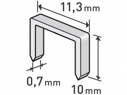 spony, balení 1000ks, 10mm, 11,3x0,52x0,70mm