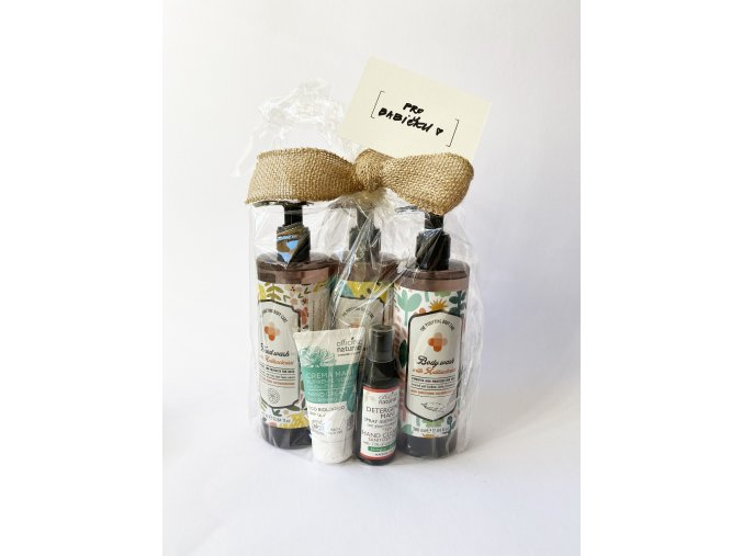 Balíček pro babičku (antibakteriální mýdlo, sprchový gel, šampon, dezinfekce a krém na ruce)