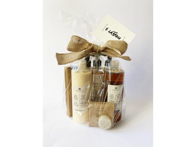 Balíček S láskou k produktům Prija (sprchový gel 2v1, tělový krém, pěna do koupele, tvrdé mýdlo, balzám na rty, podložka)